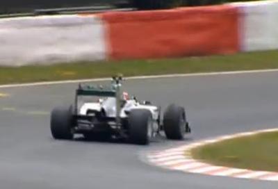 Michael Schumacher sulla Nordschleife con la Mercedes F1 2011