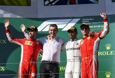 F1, Hamilton vince in Ungheria davanti alle due Ferrari