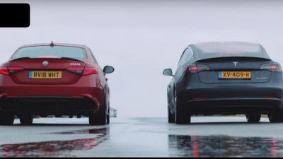 Tesla Model 3 vs Alfa Romeo Giulia Quadrifoglio: chi la spunta? (VIDEO)