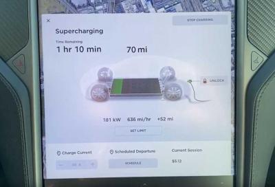 Tesla: la ricarica al Supercharger tocca quota 181 kW