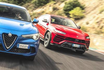 Alfa Romeo Stelvio Quadrifoglio vs Lamborghini Urus: drag race da cardiopalma