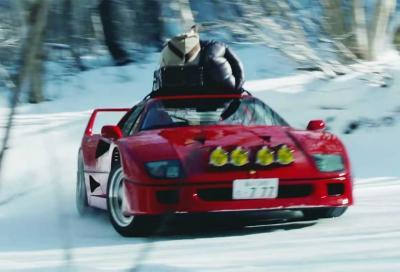 Ferrari F40: catene e portapacchi e si drifta sulla neve