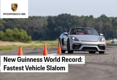 Porsche 718 Spyder più sedicenne ed è subito slalom da record