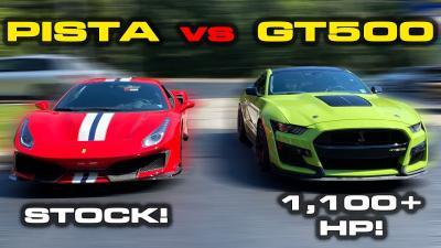 Shelby GT500 vs 488 Pista: sfida tra cavalli di razza