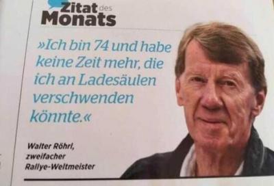 """Walter Röhrl: """"a 74 anni non ho tempo di aspettare alle colonnine elettriche"""""""